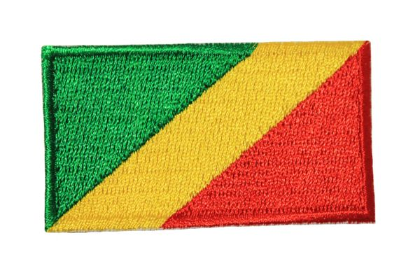 CONGO REPUBLIC NATIONAL COUNTRY FLAG IRON ON PATCH CREST BADGE .. 1.5 X 2.5 INCHES .. NEW