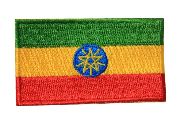 ETHIOPIA NEW NATIONAL COUNTRY FLAG IRON ON PATCH CREST BADGE .. 1.5 X 2.5 INCHES .. NEW