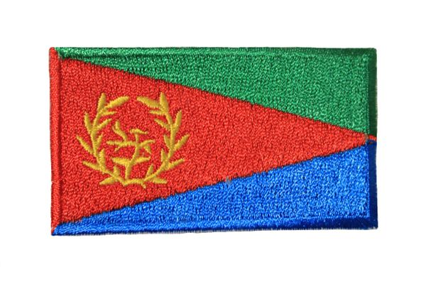ERITREA NATIONAL COUNTRY FLAG IRON ON PATCH CREST BADGE .. 1.5 X 2.5 INCHES ... NEW