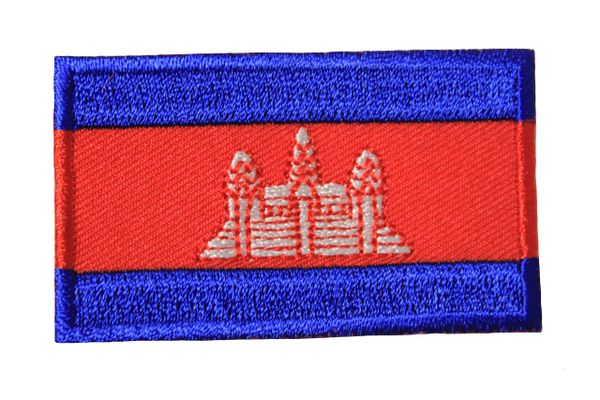 CAMBODIA NATIONAL COUNTRY FLAG IRON ON PATCH CREST BADGE .. 1.5 X 2.5 INCHES .. NEW
