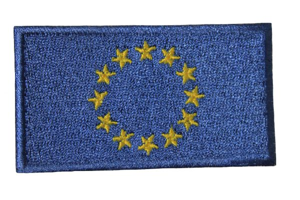 EUROPEAN UNION FLAG IRON ON PATCH CREST BADGE .. 1.5 X 2.5 INCHES .. NEW