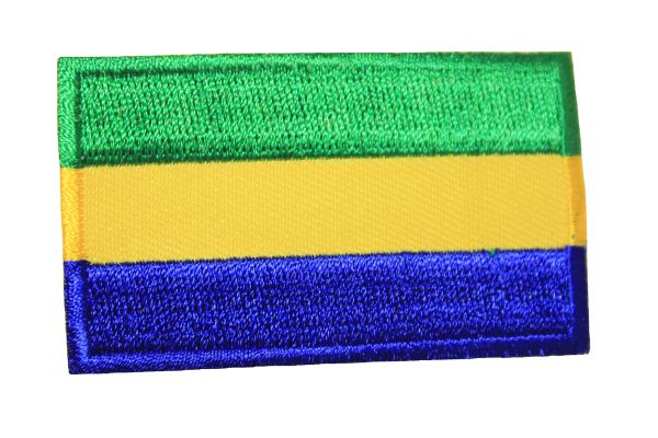 GABON NATIONAL COUNTRY FLAG IRON ON PATCH CREST BADGE ... 1.5 X 2.5 INCHES .. NEW