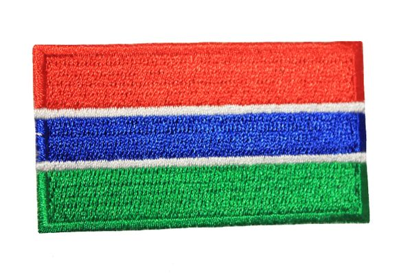 GAMBIA NATIONAL COUNTRY FLAG IRON ON PATCH CREST BADGE ... 1.5 X 2.5 INCHES .. NEW
