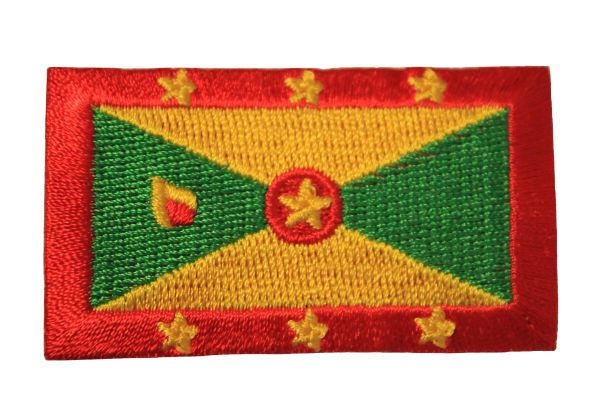 GRENADA NATIONAL COUNTRY FLAG IRON ON PATCH CREST BADGE ... 1.5 X 2.5 INCHES . NEW