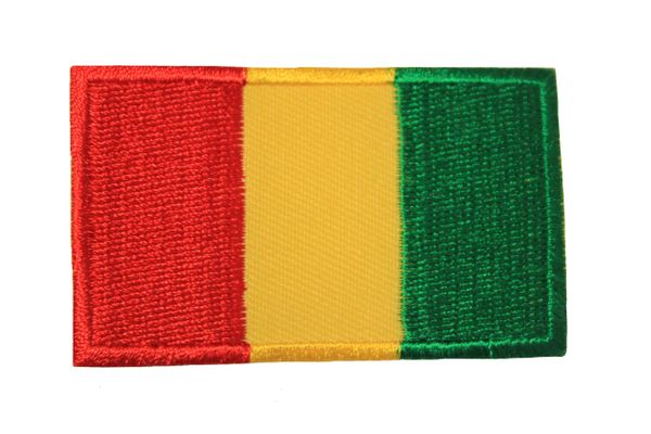 GUINEA NATIONAL COUNTRY FLAG IRON ON PATCH CREST BADGE .. 1.5 X 2.5 INCHES .. NEW