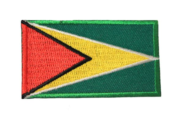 GUYANA NATIONAL COUNTRY FLAG IRON ON PATCH CREST BADGE ... 1.5 X 2.5 INCHES .. NEW