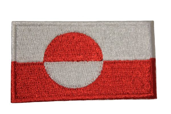 GREENLAND NATIONAL COUNTRY FLAG IRON ON PATCH CREST BADGE .. 1.5 X 2.5 INCHES . NEW
