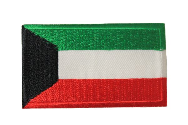 KUWAIT NATIONAL COUNTRY FLAG IRON ON PATCH CREST BADGE .. 1.5 X 2.5 INCHES .. NEW
