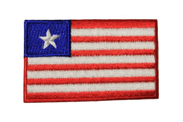 LIBERIA NATIONAL COUNTRY FLAG IRON ON PATCH CREST BADGE .. 1.5 X 2.5 INCHES .. NEW