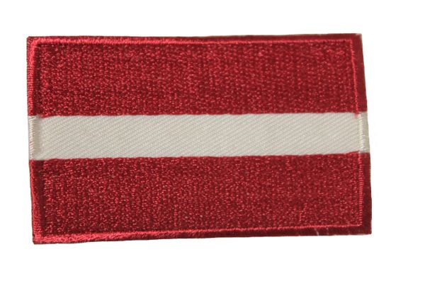 LATVIA NATIONAL COUNTRY FLAG IRON ON PATCH CREST BADGE .. 1.5 X 2.5 INCHES .. NEW