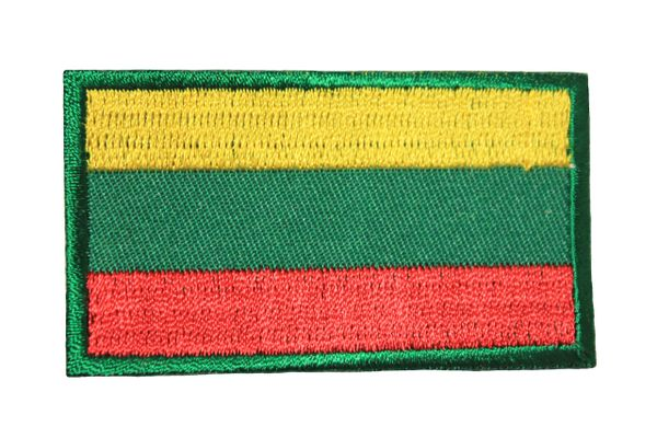 LITHUANIA NATIONAL COUNTRY FLAG IRON ON PATCH CREST BADGE .. 1.5 X 2.5 INCHES .. NEW