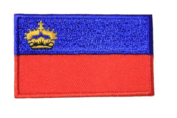 LIECHTENSTEIN NATIONAL COUNTRY FLAG IRON ON PATCH CREST BADGE .. 1.5 X 2.5 INCHES .. NEW