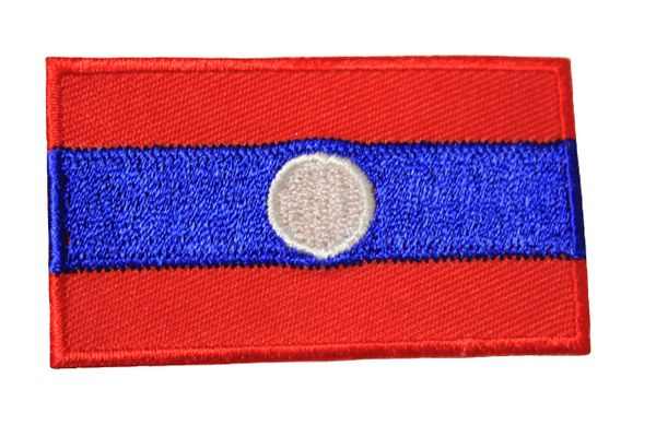 LAOS NEW NATIONAL COUNTRY FLAG IRON ON PATCH CREST BADGE .. 1.5 X 2.5 INCHES .. NEW
