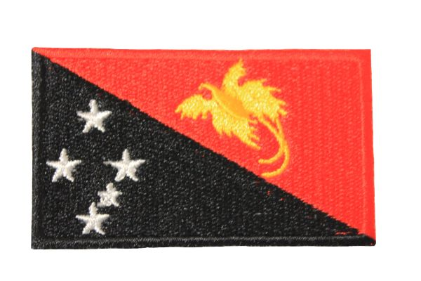 PAPUA NEW GUINEA NATIONAL COUNTRY FLAG IRON ON PATCH CREST BADGE .. 1.5 X 2.5 INCHES .. NEW