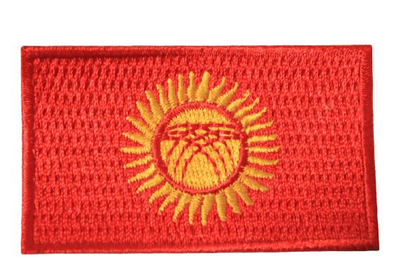 KYRGYZSTAN NATIONAL COUNTRY FLAG IRON ON PATCH CREST BADGE .. 1.5 X 2..5 INCHES .. NEW