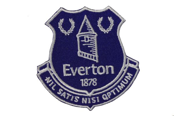 "EVERTON 1878 NIL SATIS NISI OPTIMUM Football Club Embroidered Iron - On PATCH CREST BADGE .. SIZE : 3"" X 3"" Inch"