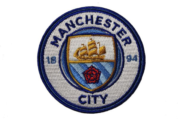 "MANCHESTER CITY 1894 Football Club Embroidered Iron - On PATCH CREST BADGE .. SIZE : 2.5"" Inch ROUND"