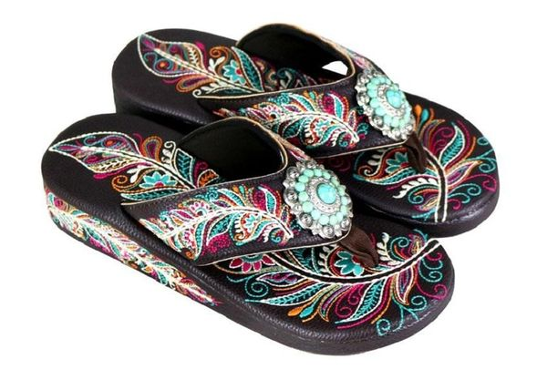 Concho Embroidered Feather Montana West Flip Flops COF