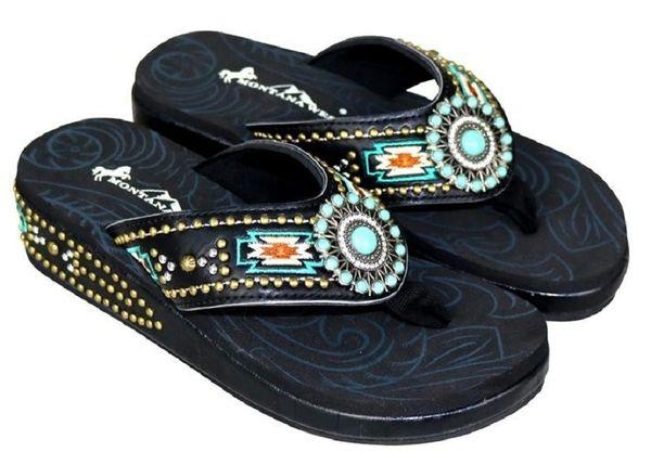 Turquoise Concho Aztec Montana West Flip Flops