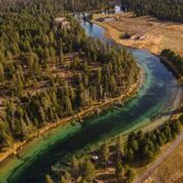 Drone image of the Wood River at Jackson F. Kimball State Park in Oregon