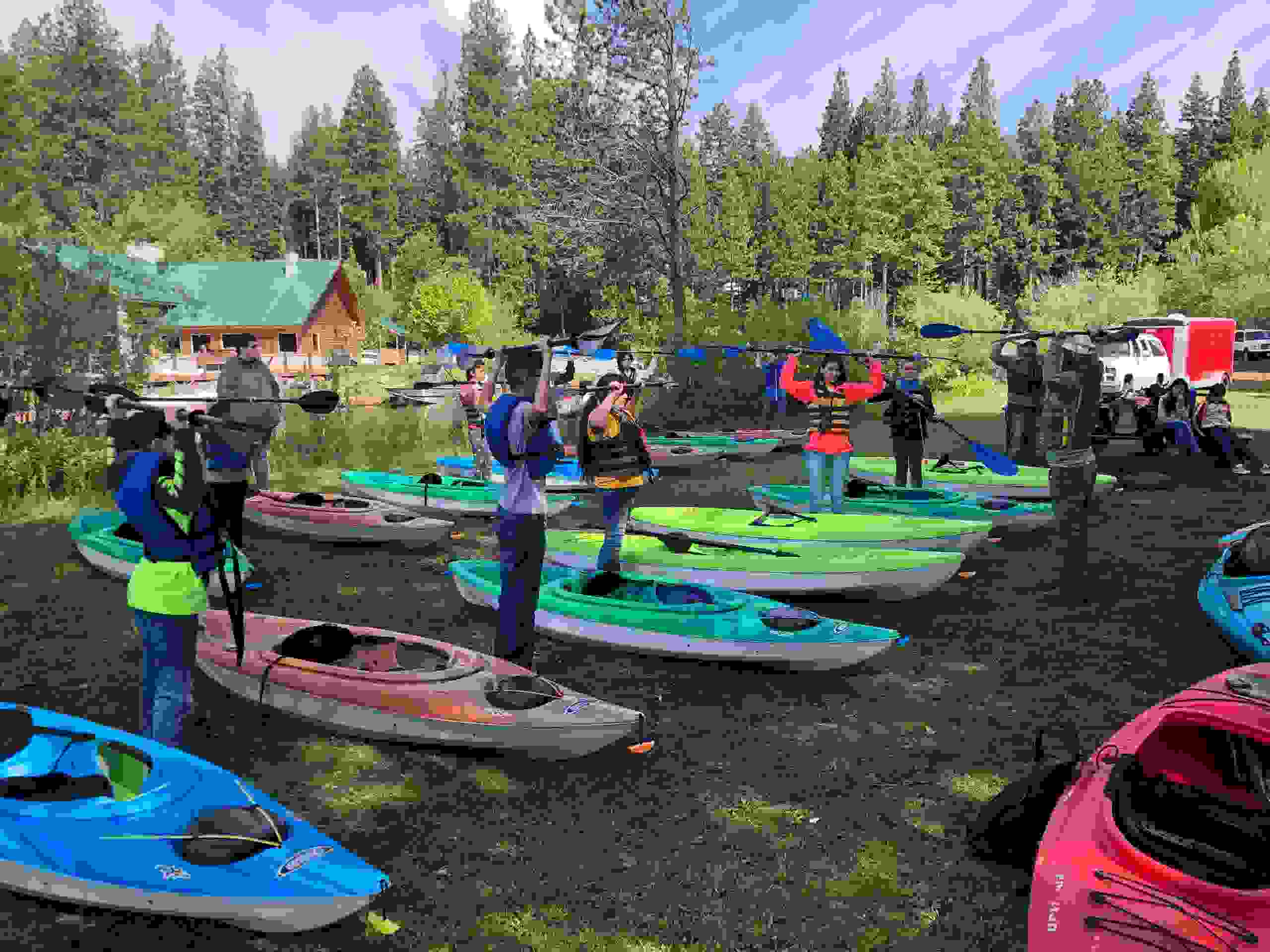 Kayak lessons being given by Sky Lakes Wilderness Adventures