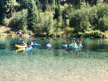 Kayak tour starting to go down the Wood River from Jackson F. Kimball State Park in Oregon.