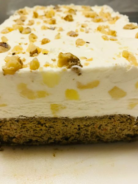 *CARROT CAKE ICE CREAM CAKE (MADE WITH DAIRY AND ORGANIC CANE SUGAR) CONTAINS DAIRY