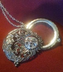 Moon & Sun Magnifying Glass Necklace Pendant