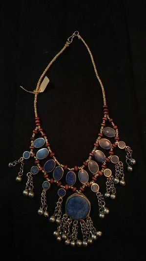 Tribal Blue Lapis Necklace Ovals w/Round Center Lapis w/dingles