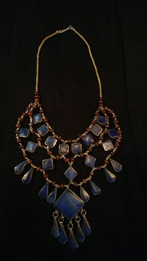 Tribal Blue Lapis Necklace Square Diamond w/Square Center Lapis and tear drops