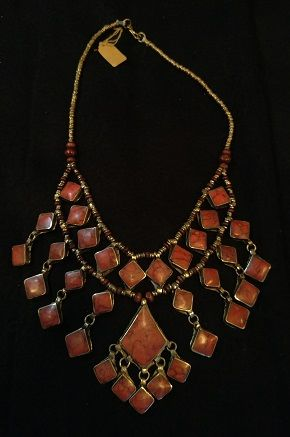 Tribal Lapis Necklace squares w/Diamond Center