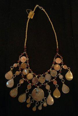 Tribal Lapis Necklace Oval Teardrops w/Round Center