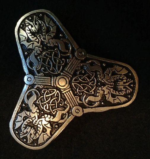 Three tipped Viking Dragon Trefoil Broach