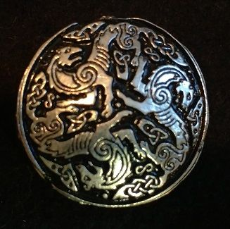 Celtic Wolves 1.5inch Pewter Broach