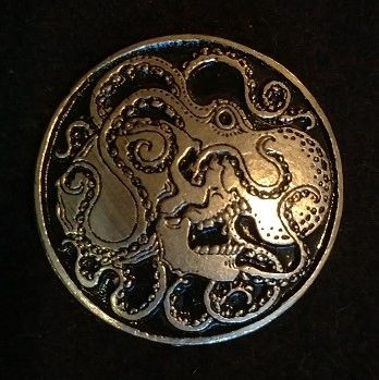 Skull and Octopus 1.5inch Pewter Broach
