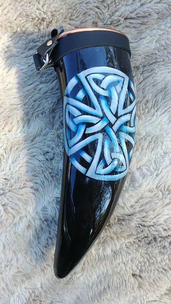 Blue Celtic Cross Knot Drinking Horn