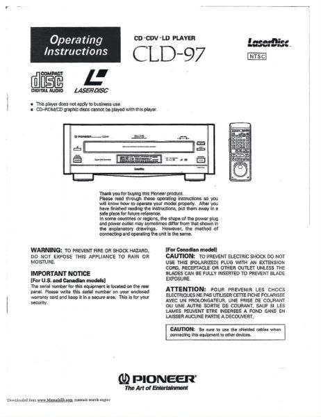CLD-97 (Pioneer Laserdisc Player Operator's Manual)
