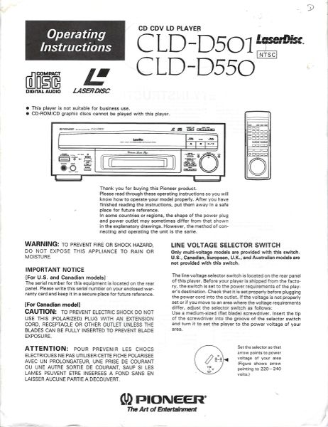 CLD-D501 and CLD-D550 (PIONEER LASERDISC PLAYER OPERATOR'S MANUAL)