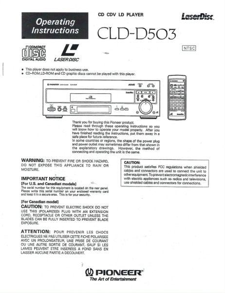 CLD-D503 (PIONEER LASERDISC PLAYER OPERATOR'S MANUAL)