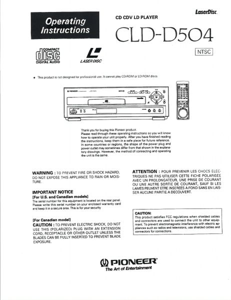 CLD-D504 (PIONEER LASERDISC PLAYER OPERATOR'S MANUAL)