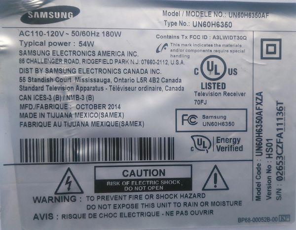 BN94-07410R samsung un60h6350afxza bn97-08043a bn41-02157b main board  bn44-00705a power supply samsung tv repair parts kit tv parts company 847346