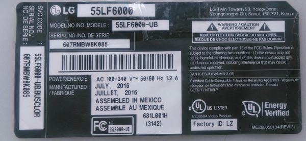 LG EBJ62431506 Power Supply for 55LF6000