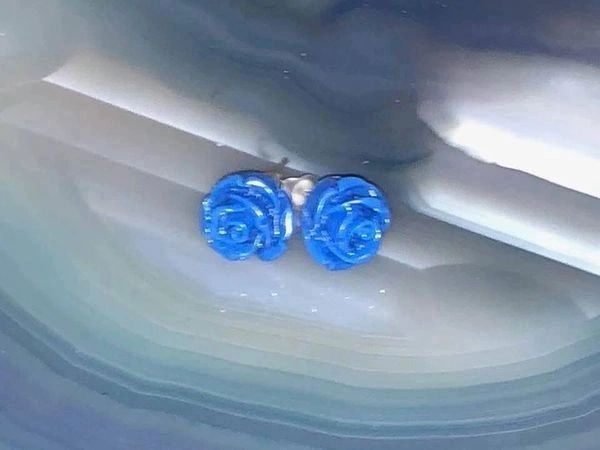Spirit Communication Earrings - Feel, Sense and Communicate With Entities 3X On Each Earring! Blue Roses!
