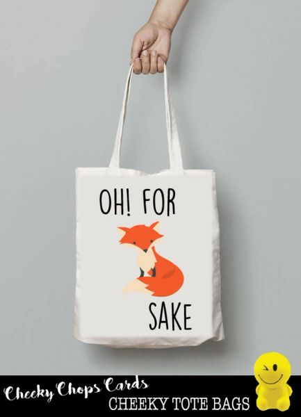 Funny Cheeky Chops Tote/Shopper/Bag/Gift - For fox sake - TB03