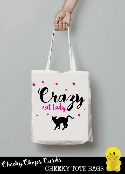 Funny Cheeky Chops Tote/Shopper/Bag/Gift - Crazy Cat Lady- TB08