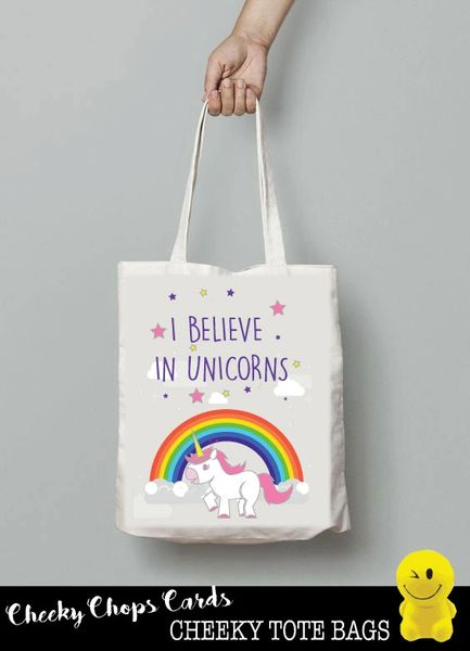 Funny Cheeky Chops Tote/Shopper/Bag/Gift - Believe in Unicorns - TB11