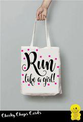 Funny Cheeky Chops Tote/Shopper/Bag/Gift - Run like a girl - TB22