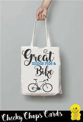 Funny Cheeky Chops Tote/Shopper/Bag/Gift - GREAT MINDS - RIDE A BIKE - TB23