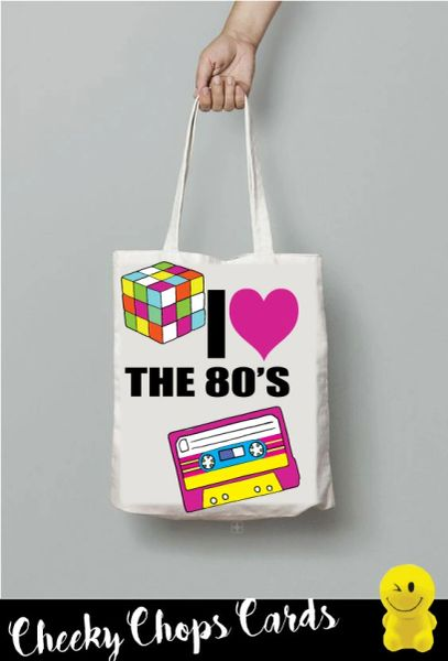 Funny Cheeky Chops Tote/Shopper/Bag/Gift - I Love the 80's 90's - TB27