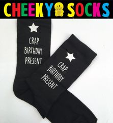 OFFENSIVE Novelty Swearing Socks - CRAP BIRTHDAY PRESENT